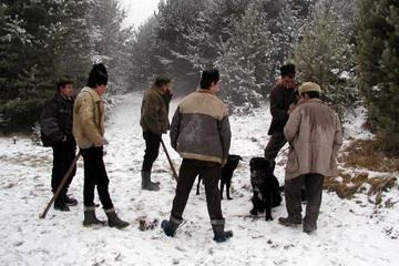 Rumänische Treiber bei Jagd auf Wolf, Luchs, Bär und Schwarzwild in der Nähe von Targu Secuiesc<small>&copy H. R.</small>