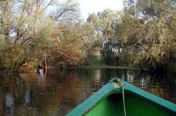 Blick von Fischerboot auf einem kleinen Donaukanal im Delta<small>© H.R.</small>