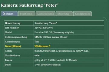 SuperJagd Wildkamera Service - Beispiel Übersicht Kamera