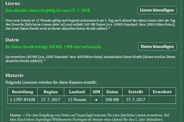 SuperJagd Wildkamera Service - Beispiel Lizenz