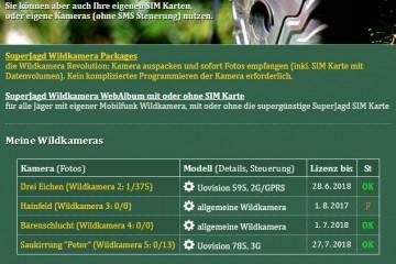 SuperJagd Wildkamera Service - Beispiel Übersicht